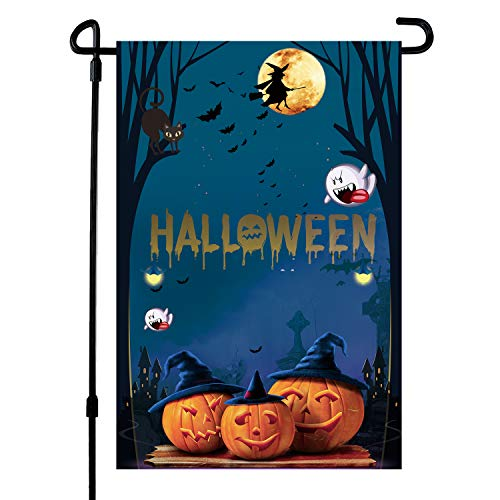 HOOSUN Halloween Garden Flag, Halloween Decoration Pumpkin Yard Garden Flag Double-Sided 12.5 x 18 Inch]()