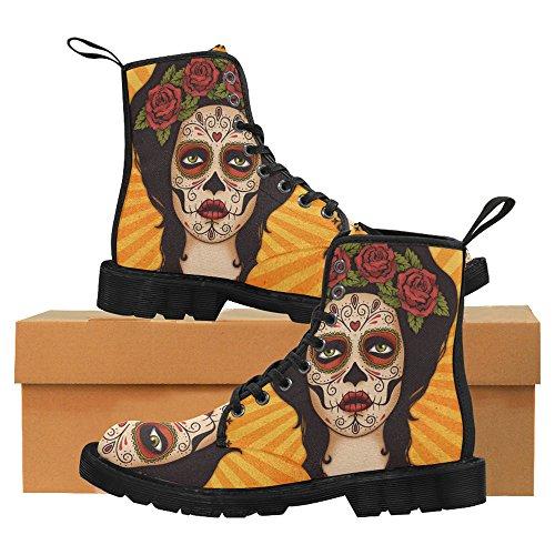 Interestprint Fashion Schoenen Mexican Skull Girl Print Veterboots Voor Dames Zwarte Zool