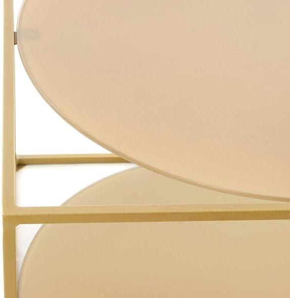 Beistelltisch Couchtisch Metall Glas Industrie Optik Würfel Design Gold Beige