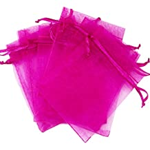Organza Bags for Wedding Party Jewery Gift Candy Bags (100PCS, Hot Pink)