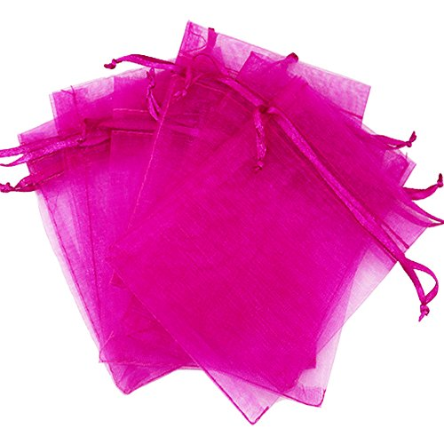 Organza Bags, Organza Gift Bags Gift Wrap Bags with Drawstring for Wedding Party Jewery (100PCS, Hot Pink)