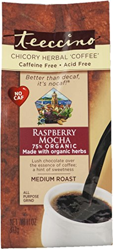 Teeccino Raspberry Mocha Chicory Herbal Coffee Alternative, Caffeine Free, Acid Free, Coffee Substitute, Prebiotic, 11 Ounce