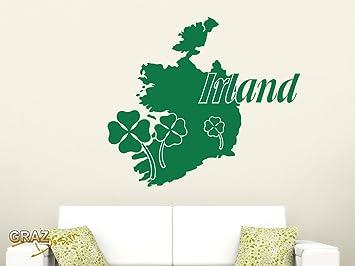 Graz Design Wandtattoo Irland Insel Karte Umriss Glück Klee Länder  Wohnzimmer