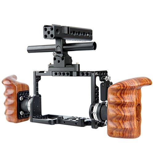 - NICEYRIG A7RIII/ A7MIII/ A7RII/ A7SII/ A7III/ A7II Camera Cage Kit with NATO Handle Rosette Wooden Handgrip Applicable Compatible with Sony A7RIII/ A7MIII/ A7RII/ A7SII/ A7III/ A7II