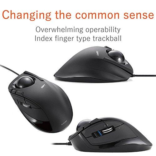 ELECOM M-DT2URBK Wired Trackball Mouse for The Index Finger 8 Button tilt Function, Black