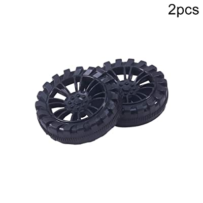 MroMax 40mm Rubber Toy Car Wheel Tires DIY Model Robots 2pcs High wear Resistance Black: Toys & Games