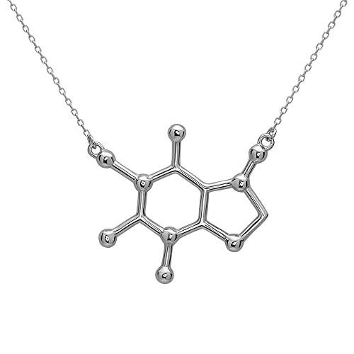 Caffeine Molecule Necklace in 925 Sterling Silver