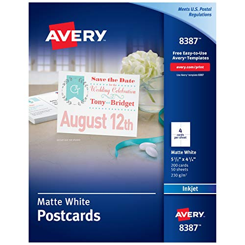 Avery Printable Postcards for Inkjet Printers, 4.25