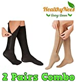 HealthyNees 2 Pairs Set Closed Toe 20-30 mmHg Zipper Compression Fatigue Swelling Circulation Knee Length Socks (L/XL)