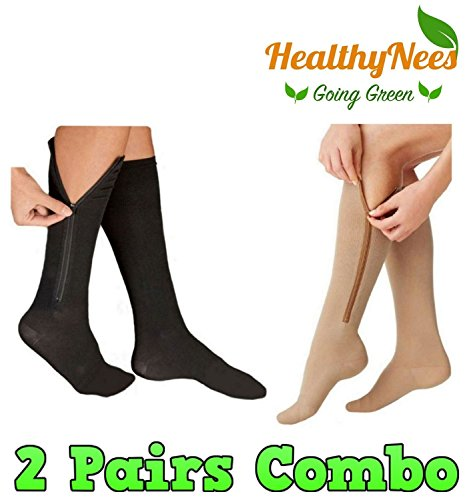 Closed Toe Stockings - HealthyNees 2 Pairs Set Closed Toe 20-30 mmHg Zipper Compression Fatigue Swelling Circulation Knee Length Socks (L/XL)