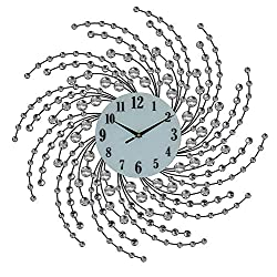 GIFTS PLAZA (D) Elegant Round Wall Clock 21 inches with Silver Spirals and Crystals