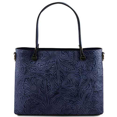 Floreale Stampa Blu Tuscany Borsa Shopping Pelle In Atena Scuro Leather nwqAf40H