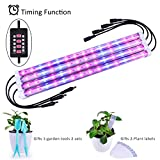 4 Pack LED Plant Strips Growing Light Bar with Timer Auto Turn On and Off, 28W MIXC Grow lamp 5 Levels Brightness Adjustable Dimmable for Indoor Seedling Succulent with 10 Plant Labels 2 Garden Tools