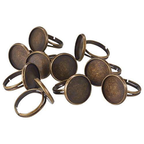 Pandahall 10pcs Brass Adjustable Finger Ring Blank Base Pad Ring Base Cabs Setting Components Antique Bronze Tray: 16mm