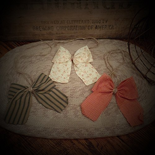 abric Bows~Americana~Set of 12~Pumpkin~Cream~Flower~Green Ticking~Twine Tie~Accents~ ()