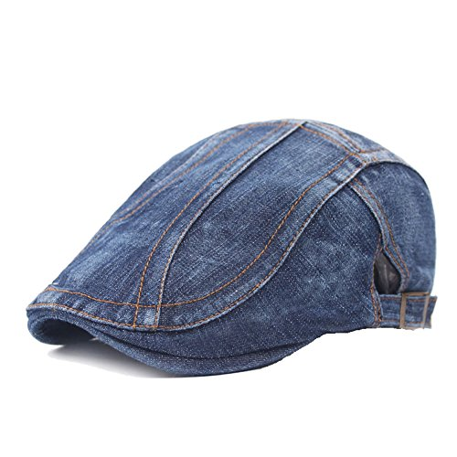 Denim Newsboy - Unisex Denim Flat Ivy Gatsby Newsboy Cabbie Driving Hat Cap