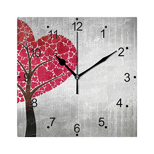 - LORVIES Love Heart Tree Wall Clock Silent Non Ticking Acrylic 8 Inch Square Decorative Clock for Home/Office/Kitchen/Bedroom/Living Room