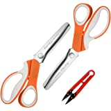 Pinking Shears Set (3MM, Orange, Pack of 2, Serrated & Scalloped Edges) by Chooling - Zig Zag Scissor for Fabric Leather - Dr