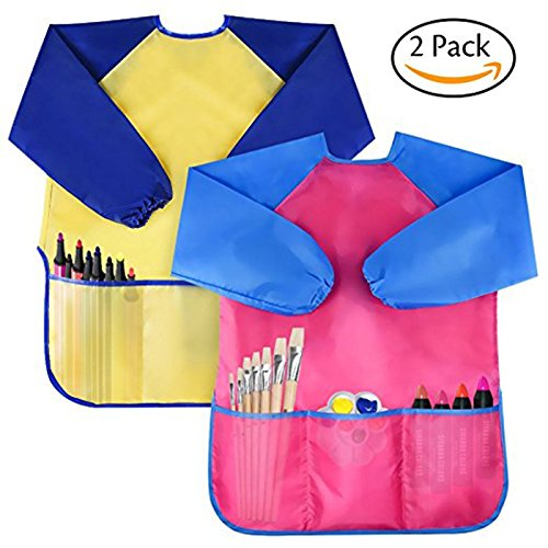 YuKing Kids Art Smocks,Children Waterproof Artist Painting Aprons Long Sleeve with 3 Pockets for Age 2-6 Years, set of 2 (Yellow+Rose) (5 Old Rose)