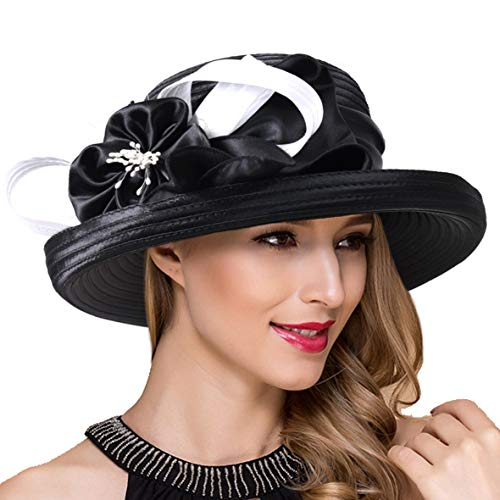 - Lady Church Derby Dress Cloche Hat Fascinator Floral Tea Party Wedding Bucket Hat S051 (S710-Black/White)