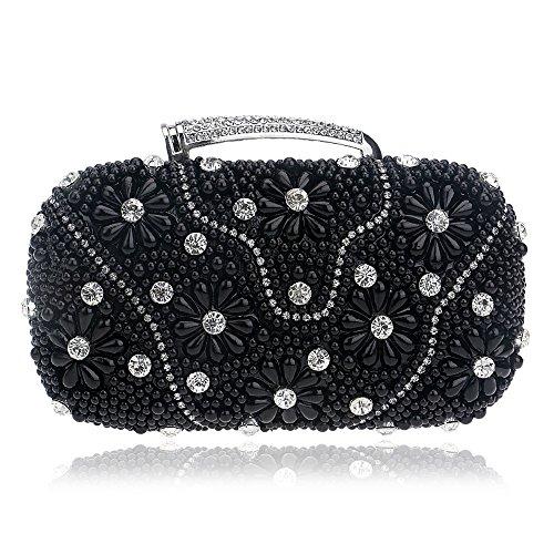 Bag Evening Bag Pearl Clutch Fashion Black Bag GROSSARTIG Party Dinner Bag Banquet xtAwnIFq