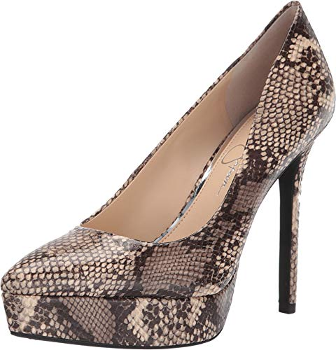 Jessica Simpson Women's Lael Neutral Glossy Dessert Snake Print 9 M US (Platforms Leather Jessica)