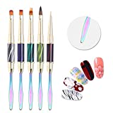 BORN PRETTY UV Gel Acrylic Nail Brush Painting Pen Nail Art Tips Builder Dotting Drawing Tool 5Pcs Set