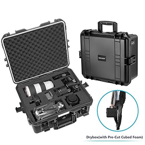 Neewer Waterproof Hard Case with Pre-Cut Cubed Foam Insert for Camera, GoPro, DJI Quadcopter, Lens, Flash, Other Accessories, Medical Equipment and More, NW-200 (Black) (Camera Hard Case)