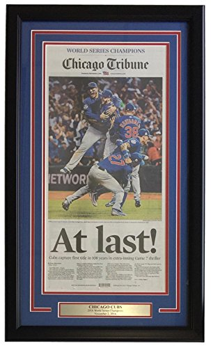 Chicago Cubs Framed Nov 3 2016 World Series Champions Chicago Tribune Cover from Sports Integrity