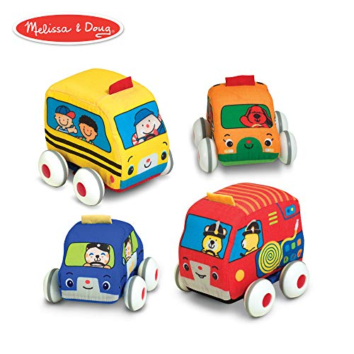 Melissa & Doug Pull-Back Vehicles, Soft Baby and Toddler Toy Set (4 Cars and Trucks and Carrying Case)]()