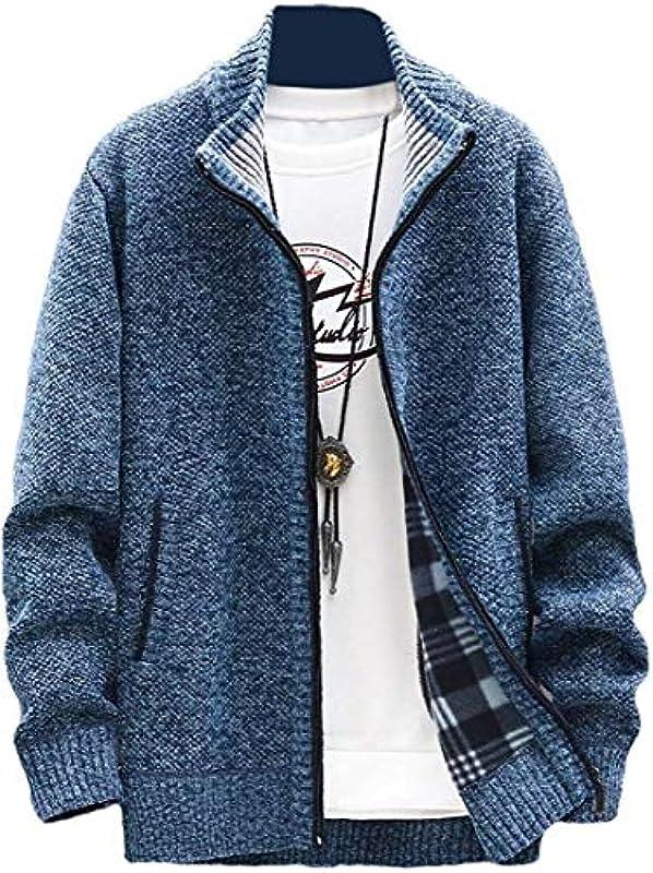 Men's Solid Color Thick Open Front Zip Up Winter Slim Fit Cardigan Coat: Odzież