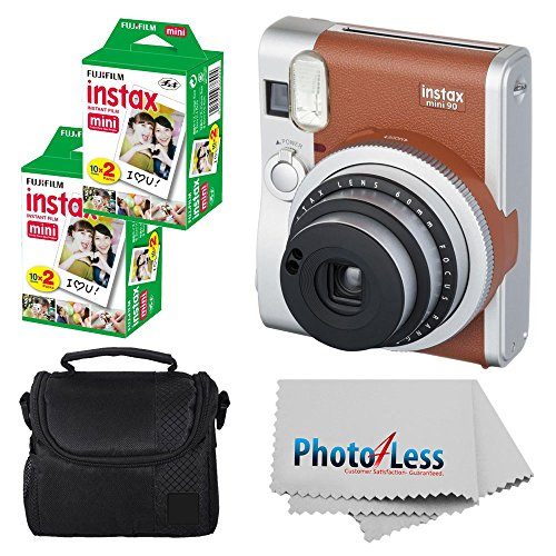 Fujifilm INSTAX Mini 90 Neo Classic Instant Camera (Brown) With 2x Fujifilm Instax Mini 20 Pack Instant Film (40 Shots) + Compact Camera Case + Cleaning Cloth - Instant Camera Bundle (Classic Polaroid Camera Film)