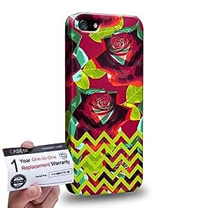 Case88 [Apple iPhone SE] 3D impresa Carcasa/Funda dura para & Tarjeta de garantía - Art Drawing Fashion Floral Chevron D