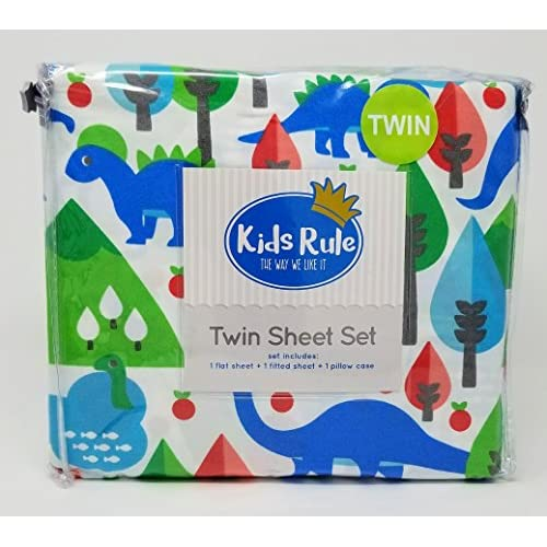 Top Kids Rule 3pc Twin Sheet Set - Dinosaurs in Vibrant Colors for sale