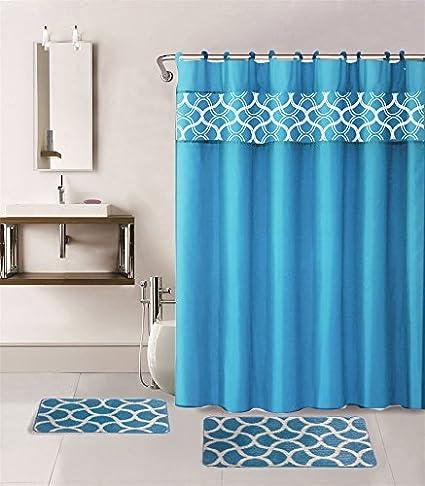 Amazon Gorgeous Home 15PC TURQUOISE GEOMETRIC DESIGN BATHROOM