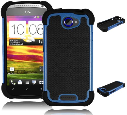 Bastex Double Layer Hard Hybrid Gel Case / Cover for HTC One S - Black & Blue