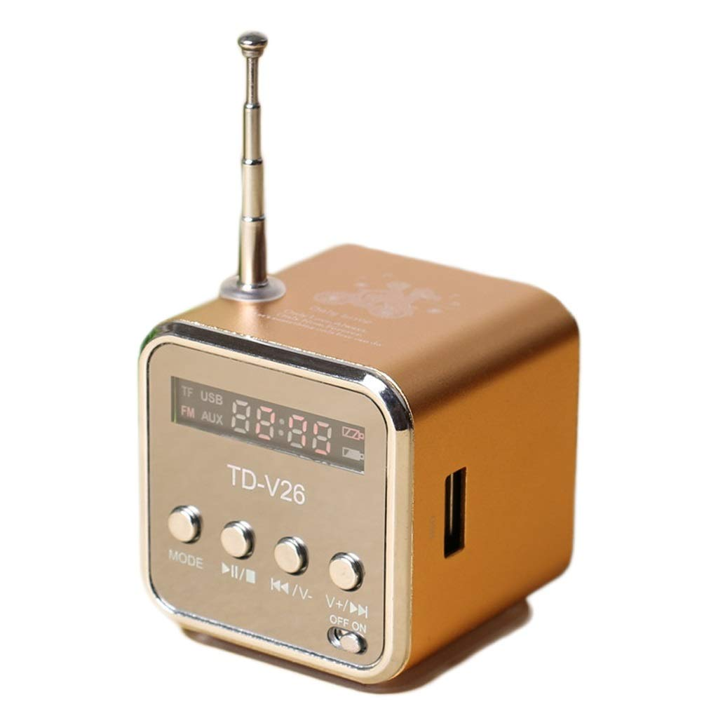 ZWS Radio Portable Digital FM Radio Speaker Mini FM Radio Receiver LCD Stereo Loudspeaker Support Micro TF Card Current Affairs Information (Color : Gold, Size : Standard)