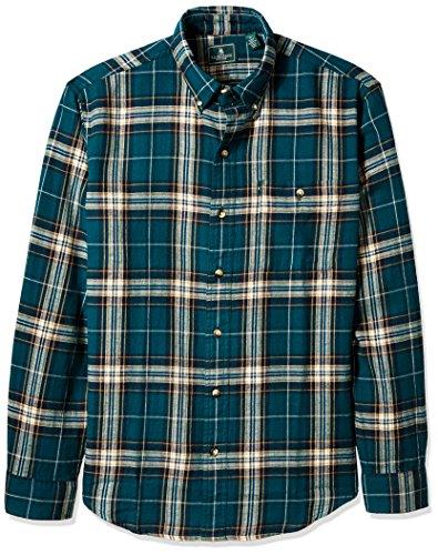 G.H. Bass & Co. Men's Long Sleeve Fireside Plaid Flannel Shirt, Deep Teal, 2X-Large
