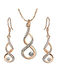 Yoursfs Pearl Jewelry Set 18K Rose Gold Plated Wedding Bridal Jewelry Sets