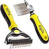 ShedTitan Pet Grooming Tools Value Bundle - 2 Sided Undercoat Rake & Long Teeth Dematting Comb for Dog, Cat, Horse - Easy & Safe Detangler, Dematter, Deshedder, Matt Breaker for Long & Medium Hair