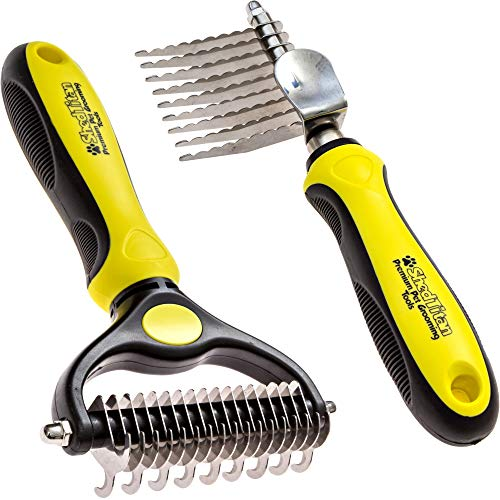 Dematting Rake - ShedTitan Pet Grooming Tools Value Bundle - 2 Sided Undercoat Rake & Long Teeth Dematting Comb for Dog, Cat, Horse - Easy & Safe Detangler, Dematter, Deshedder, Matt Breaker for Long & Medium Hair