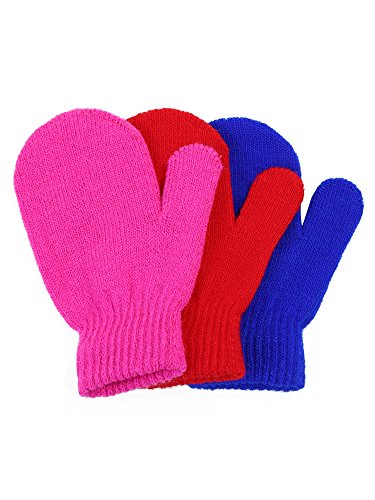 Satinior 3 Pairs Toddler Magic Stretch Mittens Little Girls Soft Knit Mitten Baby Boys Winter Knitted Gloves (1-4 Years Size, Multicolor 2)