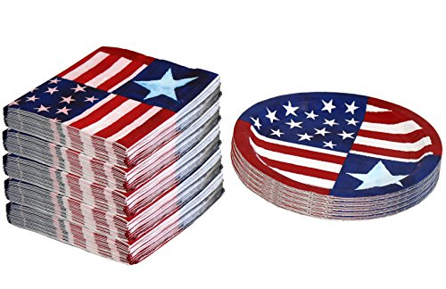 Party House 50 Paper Plates And 120 Napkins, American Pride - Patriotic Plates