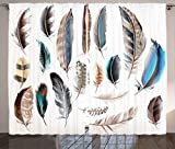 Ambesonne Feather House Decor Curtains, Western Feather Setting Pigmented Bird Body Parts Growth Nature Art Design, Living Room Bedroom Window Drapes 2 Panel Set, 108 W X 90 L Inches, Multi For Sale