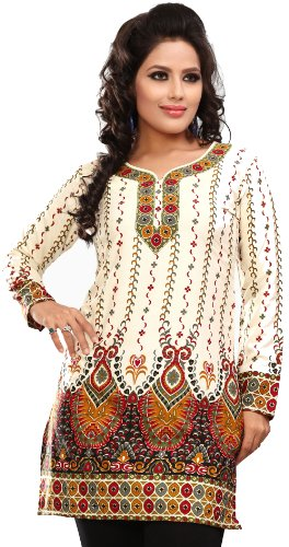 Indian Outfit (Women's Indian Kurti Top Tunic Printed Blouse India Clothes (Off White, M))