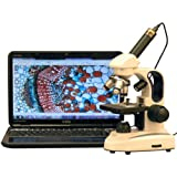 AmScope M158C-2L-E Digital Cordless Compound Monocular Microscope, WF10x and WF25x Eyepieces, 40x-1000x Magnification, Upper and Lower LED Illumination with Rheostat, Brightfield, Single-Lens Condenser, Coaxial Coarse and Fine Focus, Plain Stage, 110V or