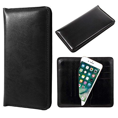 JDK Universal Leather Tasche Hüllen Schutzhülle - case Wallet for iPhone 7 Plus / Samsung Galaxy A7 (2017), Inner Size: 168 x 80mm - schwarz