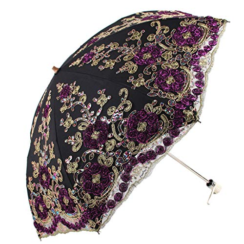 (Honeystore Wedding Lace Sun UV Parasol 2 Folding 3D Flower Embroidery Umbrella H7207 Black)