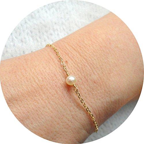 Fettero Womens Simple 14k Gold Fill Chain Delicate Freshwater Pearl Bracelet