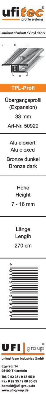 viele Farben lieferbar f/ür Belagsh/öhen von 7-15 mm ufitec Profilsystem f/ür Parkett- und Laminatb/öden Niveauausgleichsprofil 90 cm lang, Silber